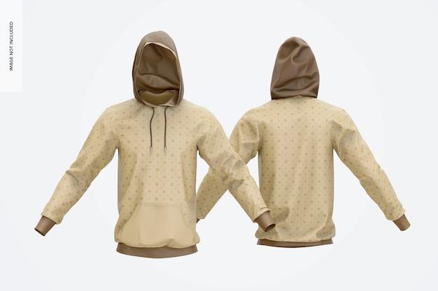 Maquette de sweats à capuche, vue avant et arrière