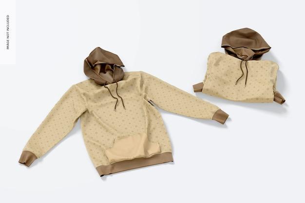 Maquette de sweats à capuche, vue de dessus