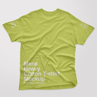 Maquette de t-shirt à dos en coton épais pour hommes