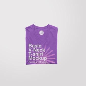 Maquette de t-shirt plié basique à col en v