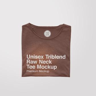 Maquette de t-shirt plié à col brut unisexe triblend