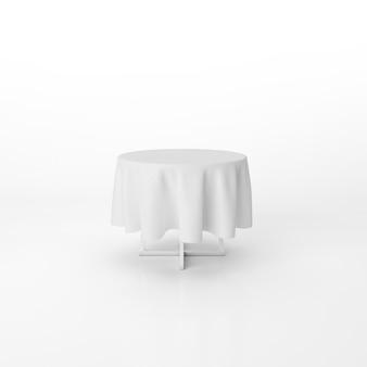Maquette de table à manger ronde avec un tissu blanc