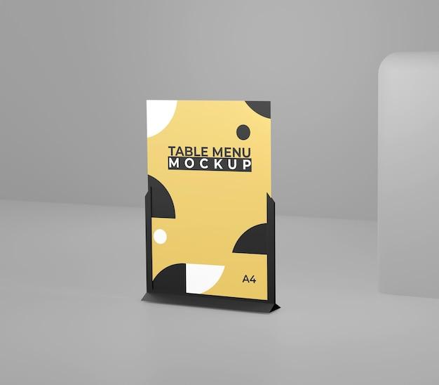 Maquette de table de menu simple noir jaune