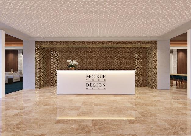 Maquette de table de réceptionniste dans un salon moderne