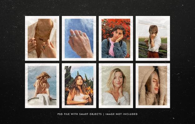 Maquette de tableau d'humeur de photos polaroid froissées