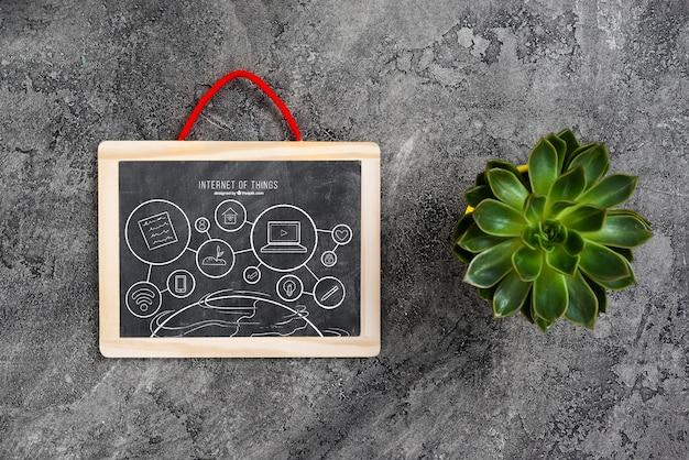 Maquette de tableau avec plante