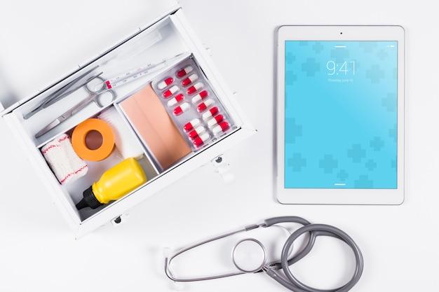 Maquette de tablette avec concept médical