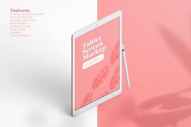 Maquette de tablette élégante flottant avec un crayon numérique