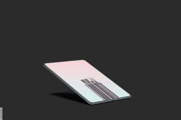 Maquette de tablette intelligente réaliste avec lumière sombre