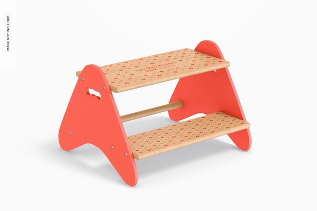 Maquette de tabouret en bois à deux marches