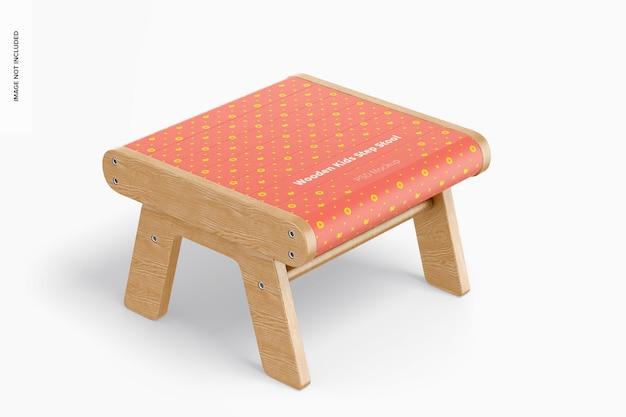 Maquette de tabouret en bois pour enfants, perspective