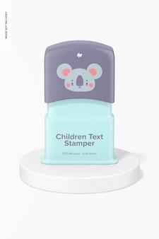 Maquette de tampon de texte pour enfants, vue de face