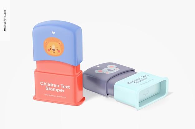 Maquette de tampons de texte pour enfants, perspective