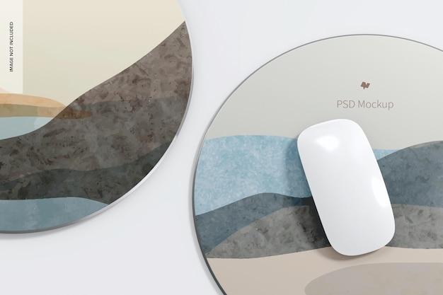 Maquette de tapis de souris en aluminium rond, gros plan