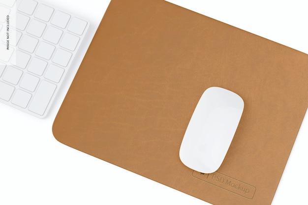 Maquette de tapis de souris en cuir rectangulaire, vue de droite