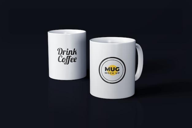 Maquette de tasse blanche réaliste isolée