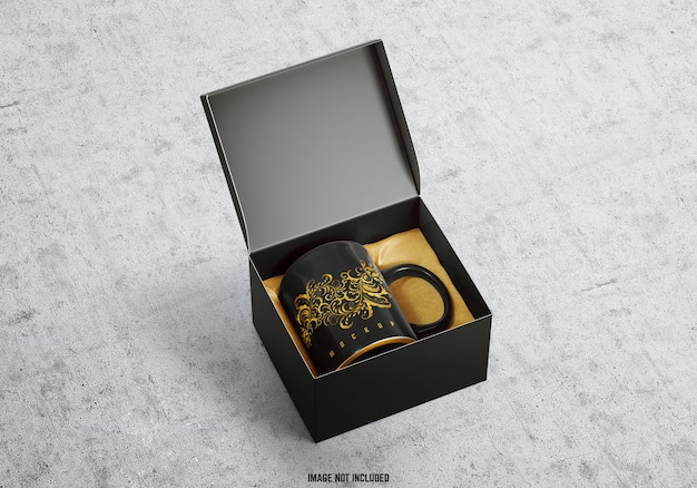 Maquette de tasse et boîte-cadeau
