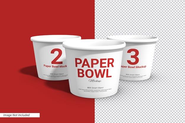 Maquette de tasse de bol de papier à trois étiquettes isolée