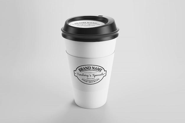 Maquette de tasse de café écologique en papier avec autocollant et capuchon