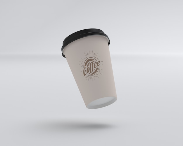Maquette de tasse à café flottante