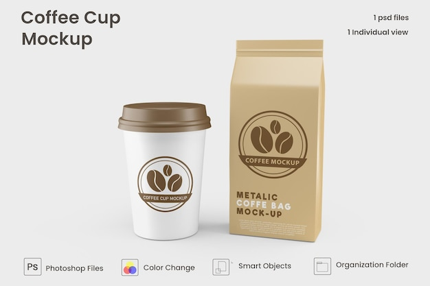 Maquette de tasse à café en papier à emporter premium psd