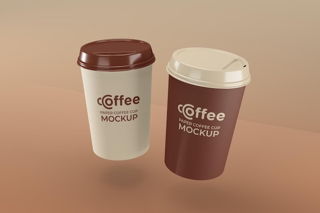 Maquette de tasse à café en papier réaliste pour la marque et l'identité