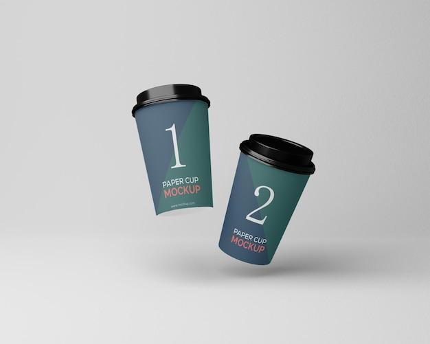 Maquette de tasse à café en papier volant