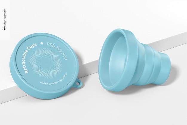 Maquette de tasse rétractable, ouverte