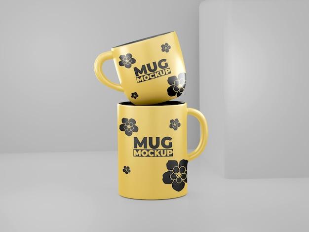 Maquette de tasse simple jaune