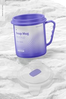 Maquette de tasse à soupe de 22 oz, ouverte