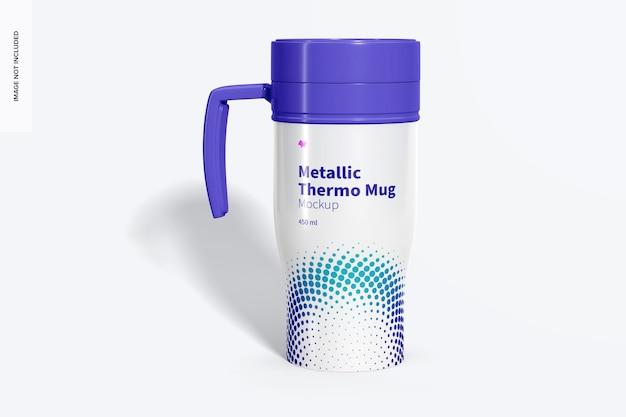 Maquette de tasse thermo métallique brillante, vue de face