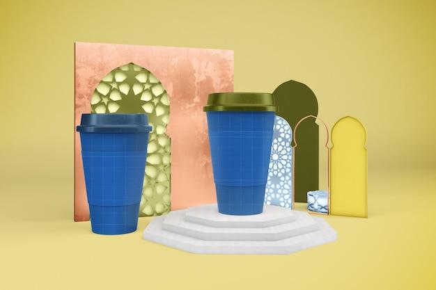 Maquette de tasses à café arabe