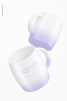 Maquette de tasses à café en céramique de 14 oz, flottant