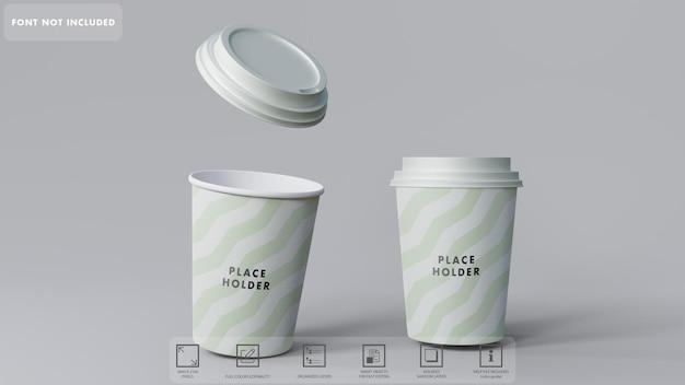 Maquette De Tasses à Café En Papier 3d PSD Premium