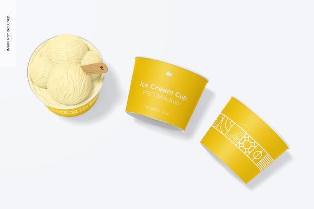 Maquette de tasses de crème glacée en papier de 3 oz, vue de dessus