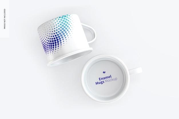 Maquette de tasses en émail, vue de dessus