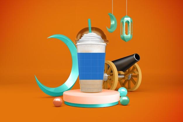 Maquette de tasses en plastique ramadan