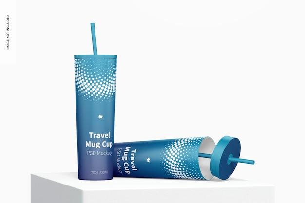 Maquette de tasses de tasse de voyage, abandonnée
