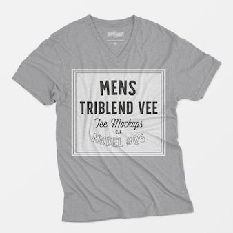 Maquette tee-shirt vee triblend pour homme