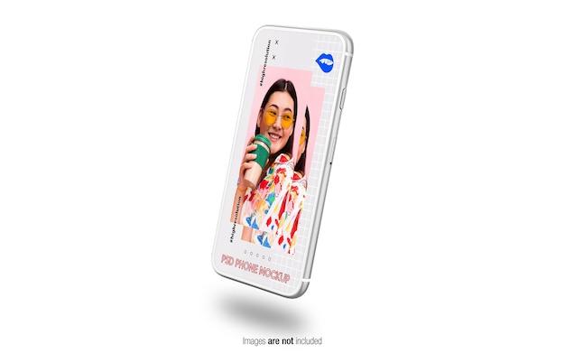 Maquette de téléphone argent flottant isolée