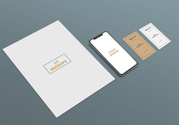 Maquette de téléphone et de carte de visite a4