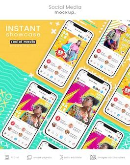 Maquette de téléphone colorée avec des publications sur les réseaux sociaux