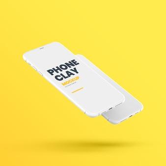 Maquette de téléphone flottant en argile