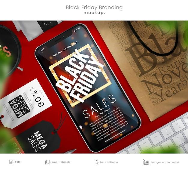 Maquette de téléphone friady noire et maquette de conception de sac à provisions
