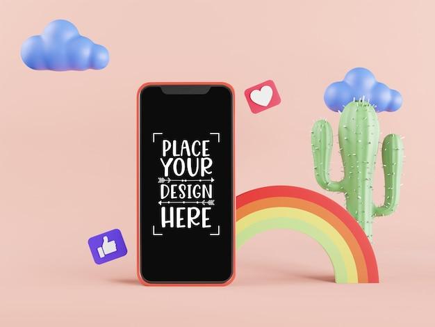 Maquette de téléphone intelligent à écran blanc avec arc-en-ciel et cactus