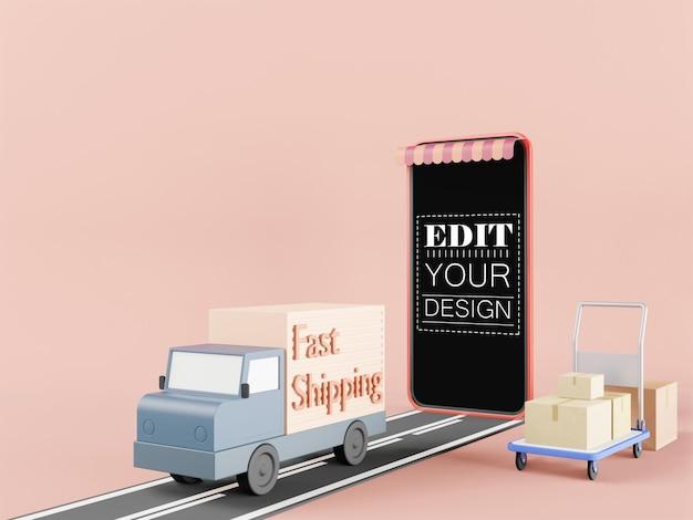 Maquette de téléphone intelligent à écran blanc avec camion de livraison