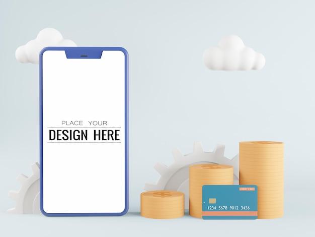Maquette de téléphone intelligent à écran blanc avec carte de crédit et pièces de monnaie