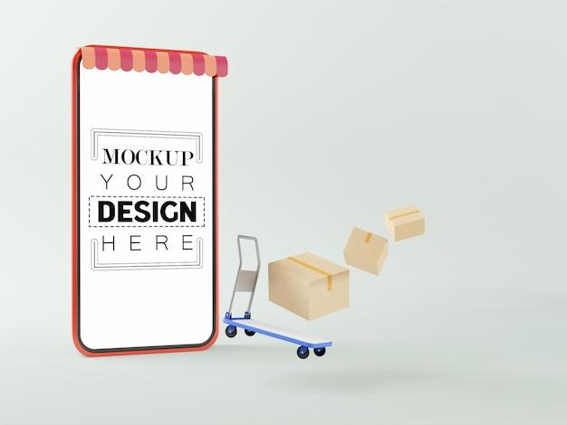 Maquette de téléphone intelligent à écran blanc avec chariot et colis