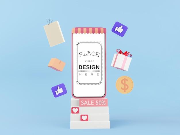 Maquette de téléphone intelligent à écran blanc avec concept de vente