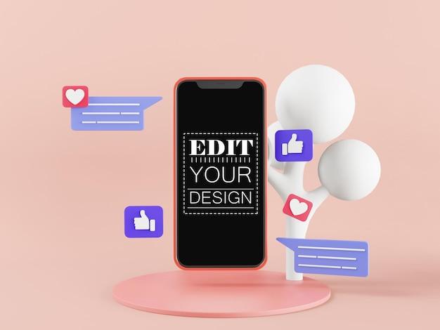 Maquette de téléphone intelligent à écran blanc avec des icônes de chat et de médias sociaux